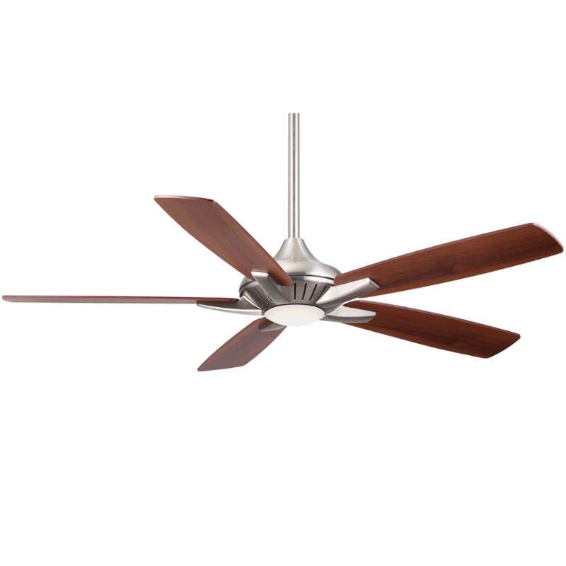 """MinkaAire Dyno 52"""" 5 Blade Indoor Ceiling Fan with Integrated LED Light and Remo Brushed Nickel Fans Ceiling Fans Indoor Ceiling Fans"""