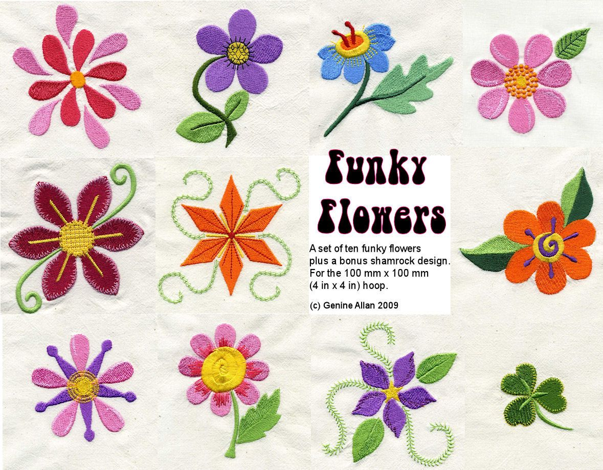 Funky Flowers Embroidery Design Set - Machine Embroidery Designs by  Genniewren on Etsy