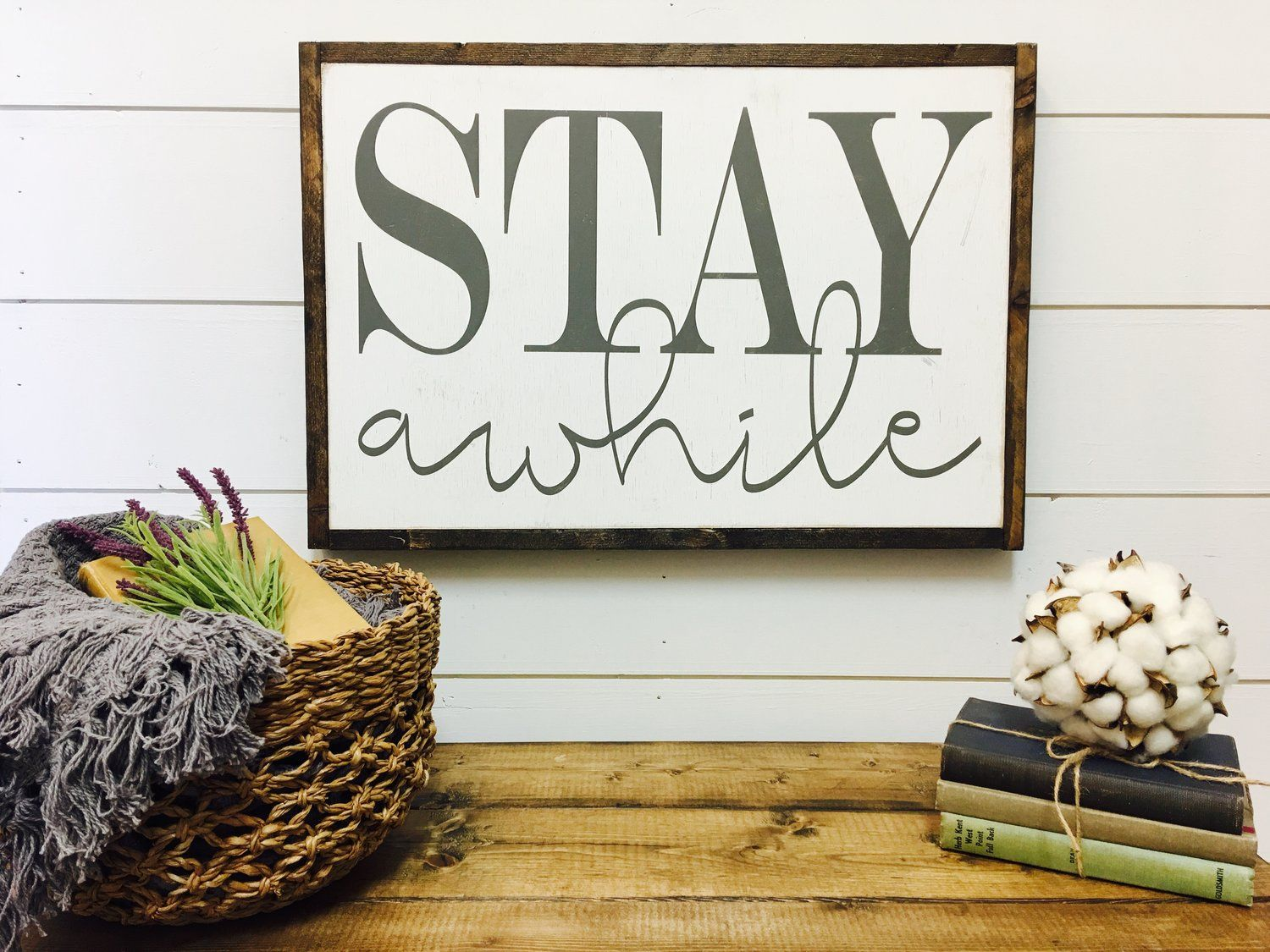 stay awhile/ rustic roots il/ handmade wood sign/ farmhouse decor ...