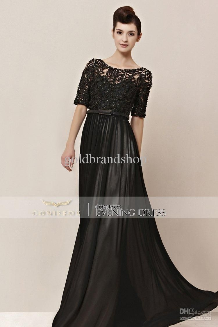 Vintage Lace Embroided Black Dress