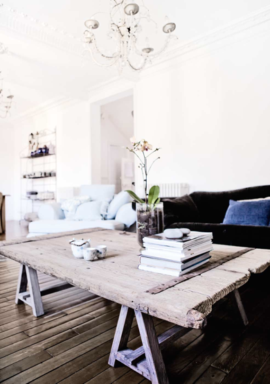 nicely aged coffee table... Maybe its time to scout vintage sales for an old barn door?