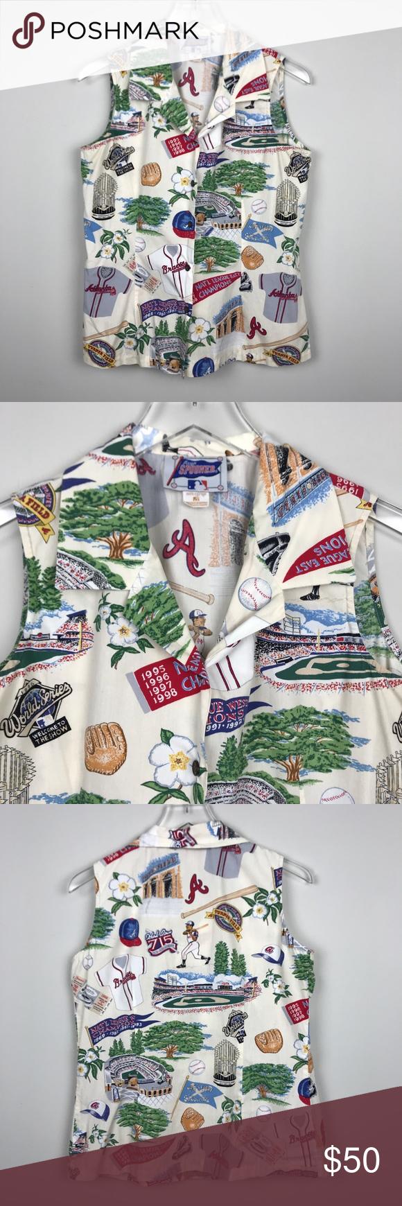 3cccd554 [Reyn Spooner] Vintage Atlanta Braves Shirt MLB M Vintage women's Reyn  Spooner Button down