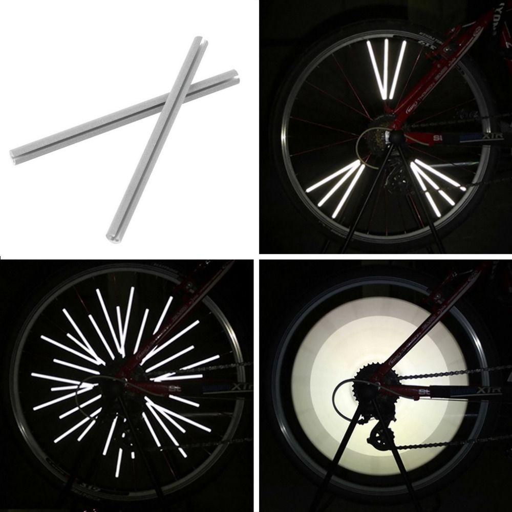 12 개 반사 마운트 클립 튜브 경고 스트립 자전거 자전거 휠 반사판 산악 후면 자전거 반사판 빛 반사