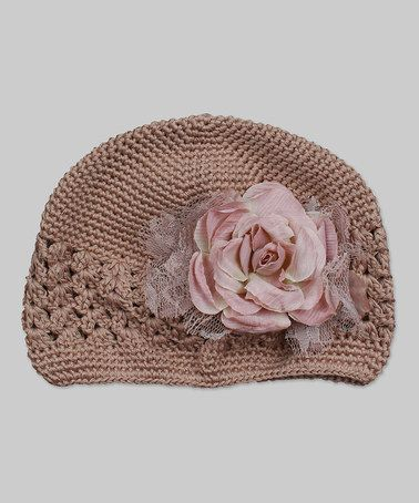 Another great find on #zulily! Beige Lace Flower Crocheted Beanie by Tesa Babe #zulilyfinds
