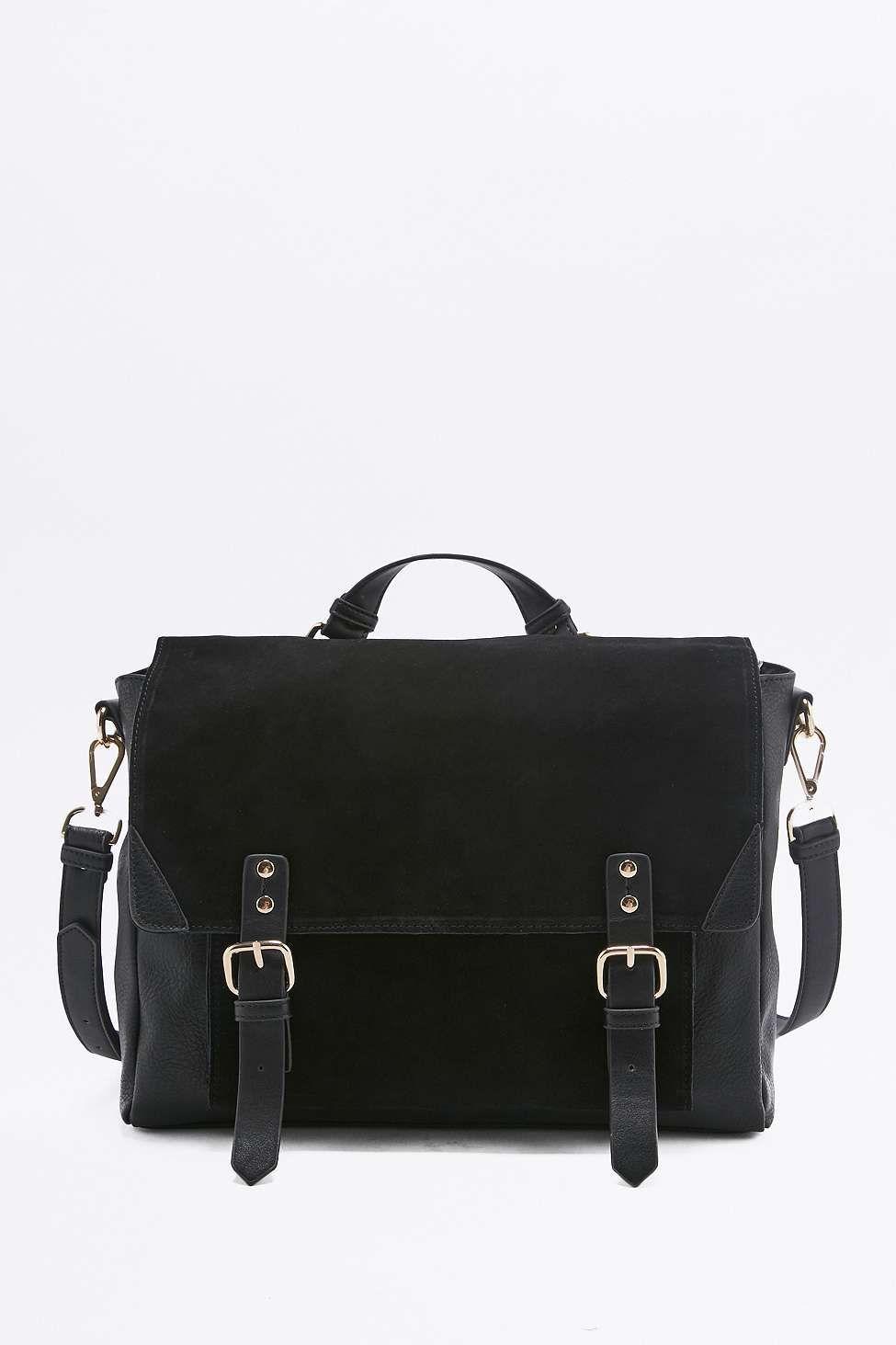 Suede Buckle Satchel Bag