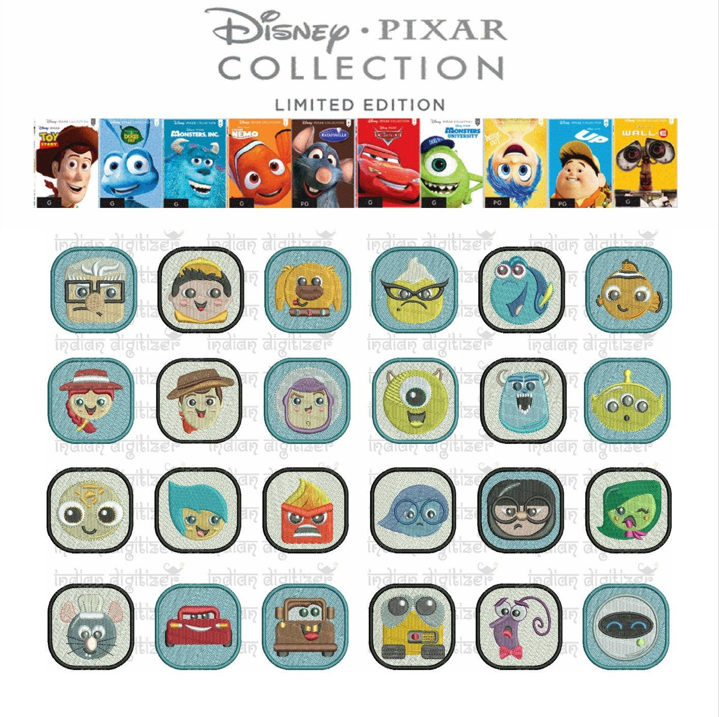 20 Disney Toy Story Collection Machine Embroidery Designs brother PES JEF HUS
