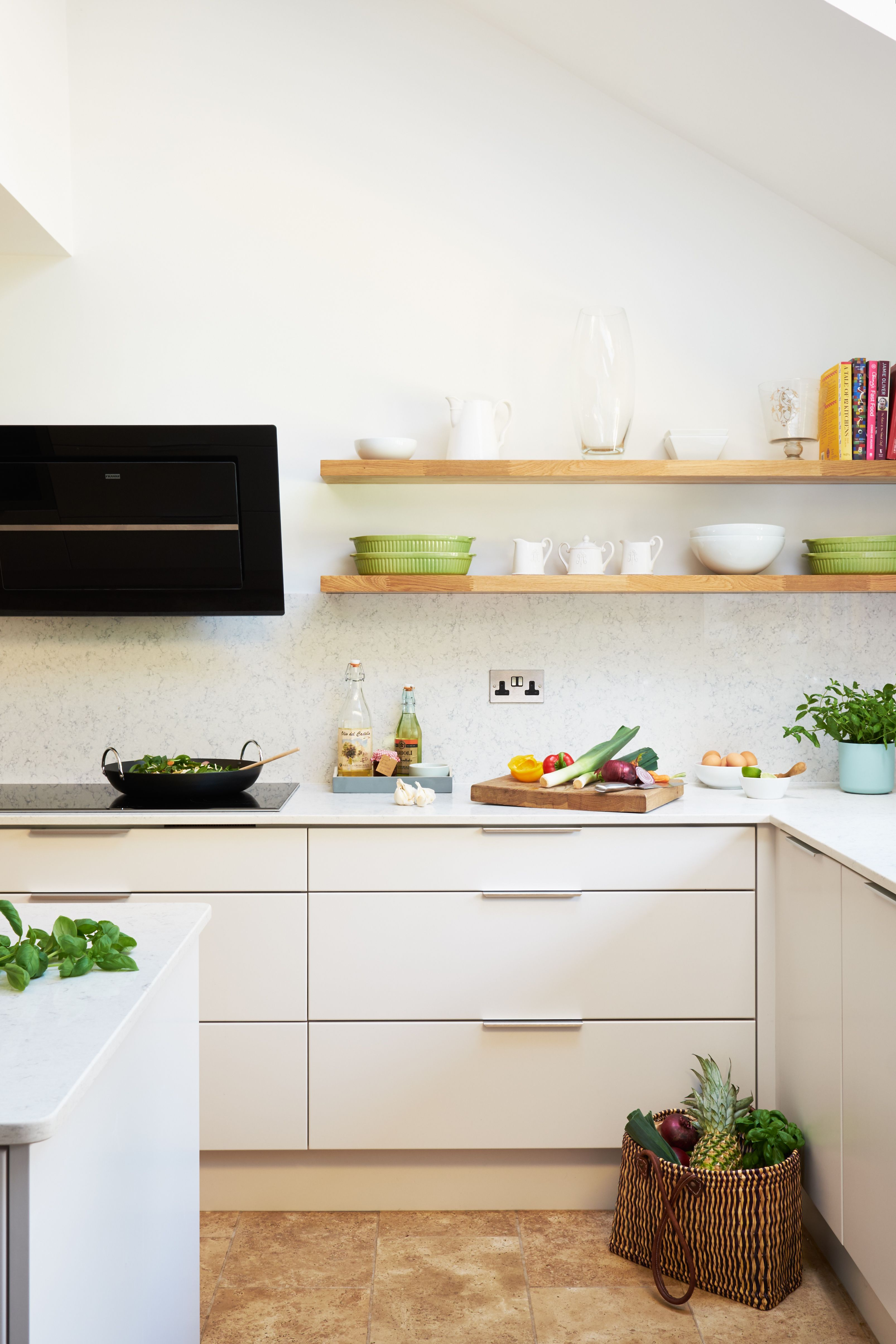 floating shelves to create an open feel and cream units on floating shelves kitchen id=85443
