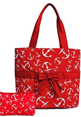 Anchor Nautical 3 Pc Diaper Tote Bag Set w/ Changing Pad Red