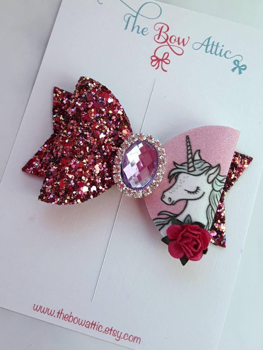Unicorn hair bow pink glitter bows unicorn gift cute girls clips