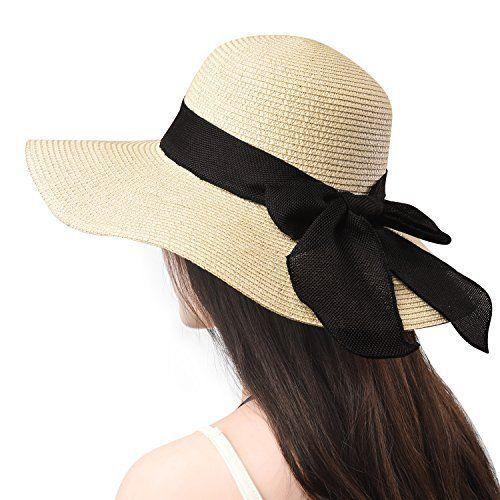 Jogoo Women Sun Beach Hats Wide Brim Straw Hat Unique Windproof Strap  Design UPF  Jogoo a305dfefefb4
