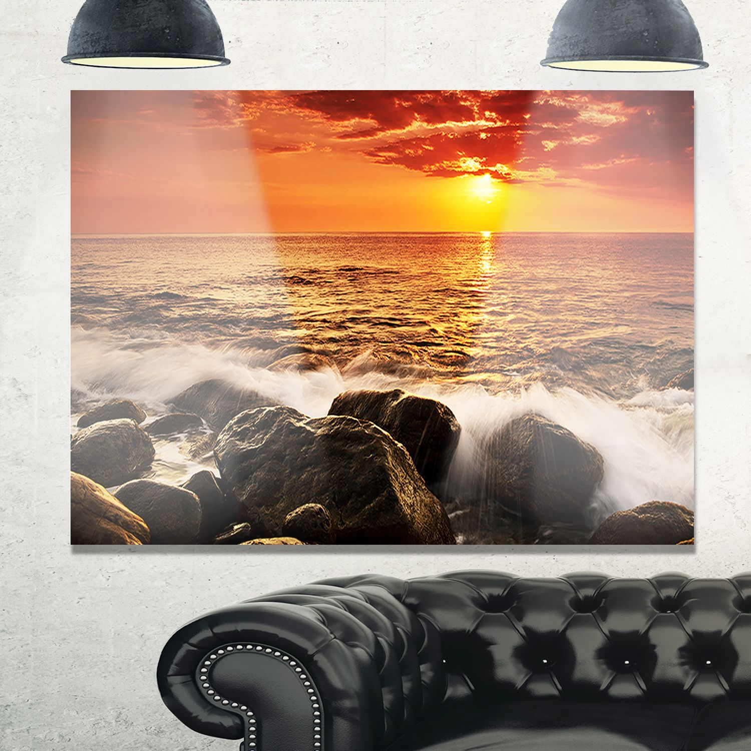 Bright sunset over rocky shore modern seashore glossy metal wall
