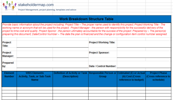 Work Breakdown Structure Template Excel  Exceltemp