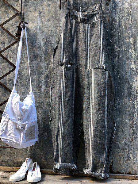 Casual Plus Size Striped Jumpsuit #casualjumpsuit