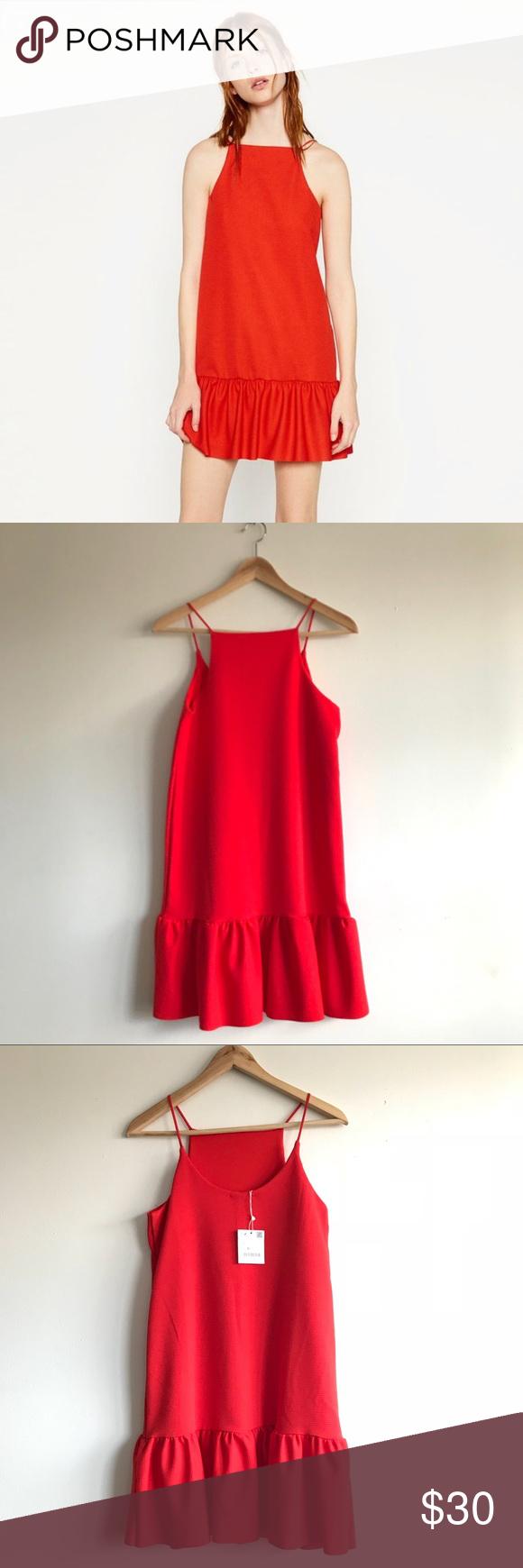 Nwt zara red dress with ruffle hem nwt in my posh picks