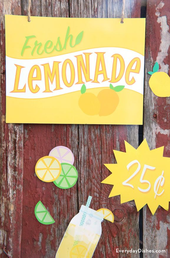 Printable Lemonade Stand Signs Instructions Recipe Lemonade Stand Sign Lemonade Stand Lemonade Sign