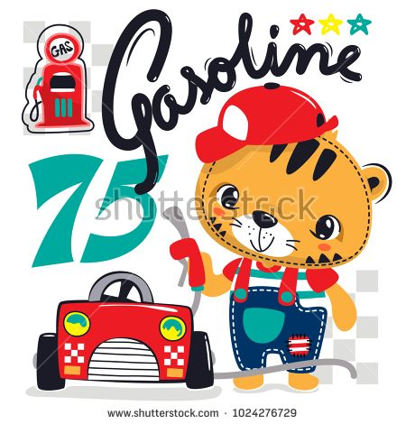 Cute Cartoon Tiger Wearing Red Hat And Overalls With A Red Car
