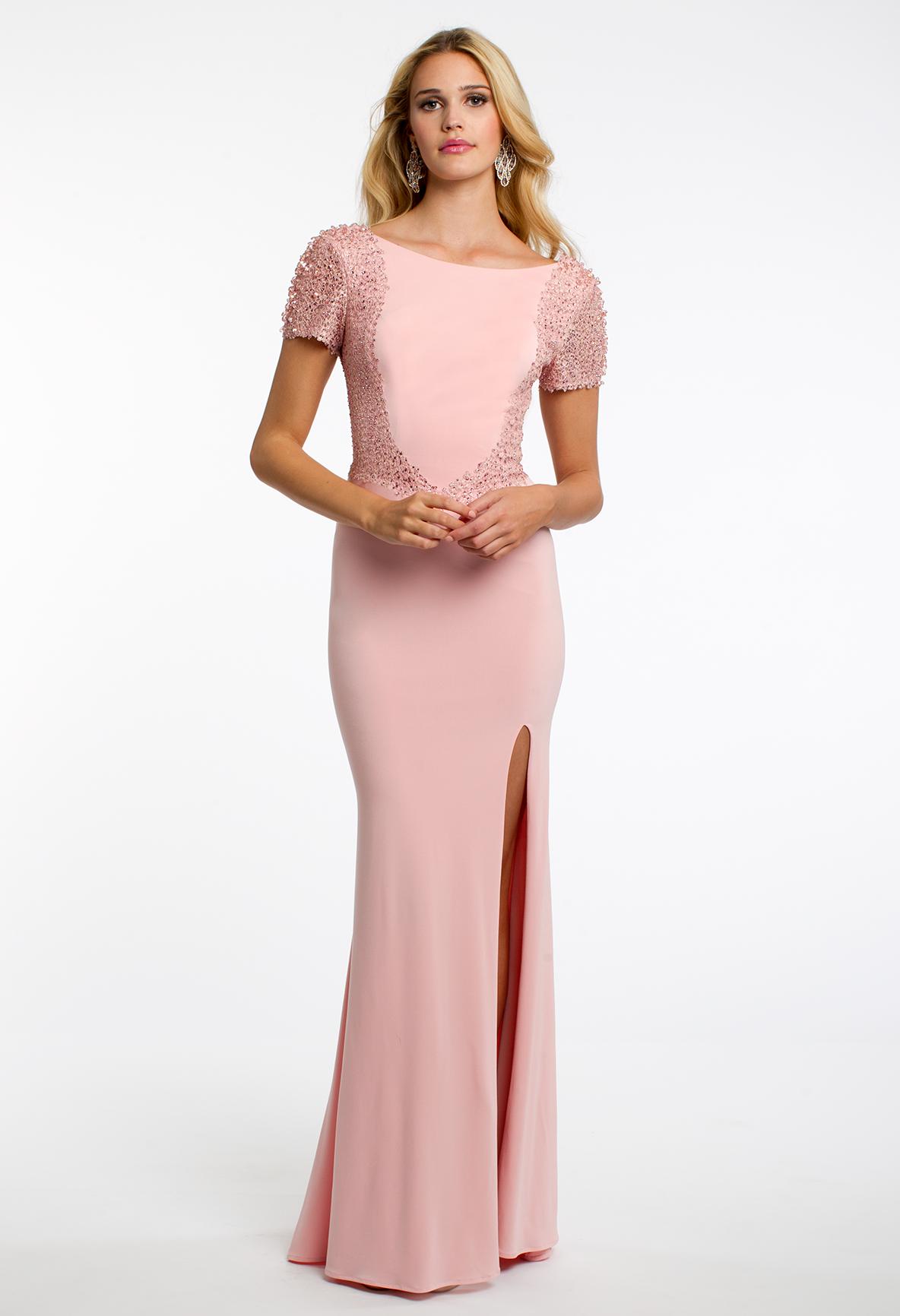 Short Sleeve Embroidered Crystal Dress #camillelavie | PROM DRESSES ...