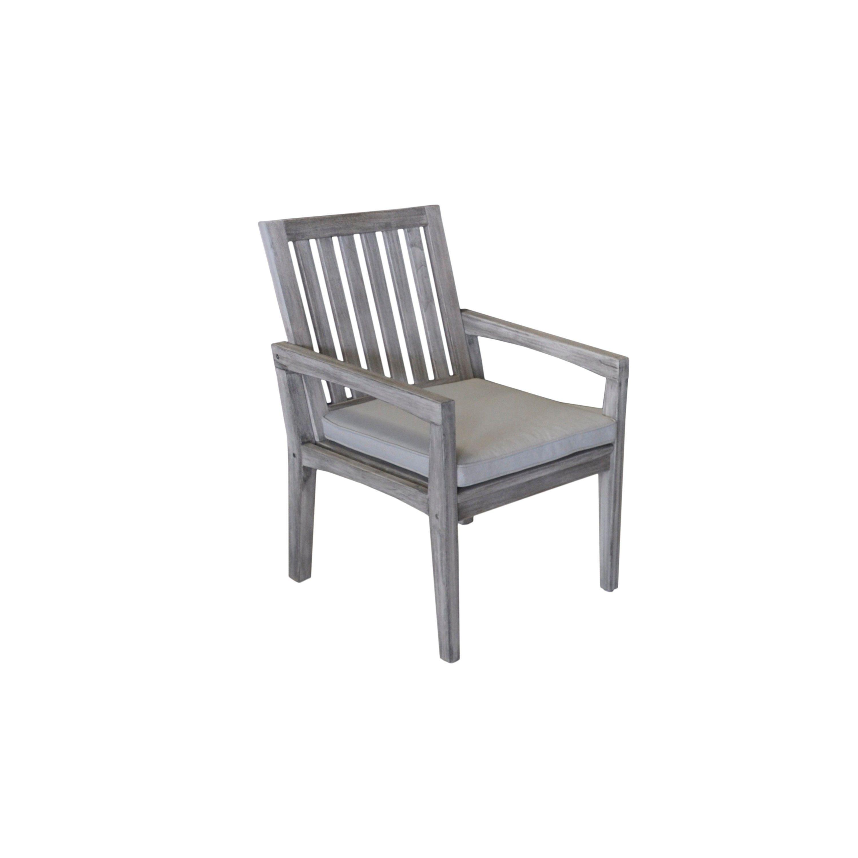 Havenside Home Surfside Grey Teak Outdoor Dining Chair With Cushion Beige Patio Furniture Teak Patio Furniture Gray Patio Furniture Teak Outdoor