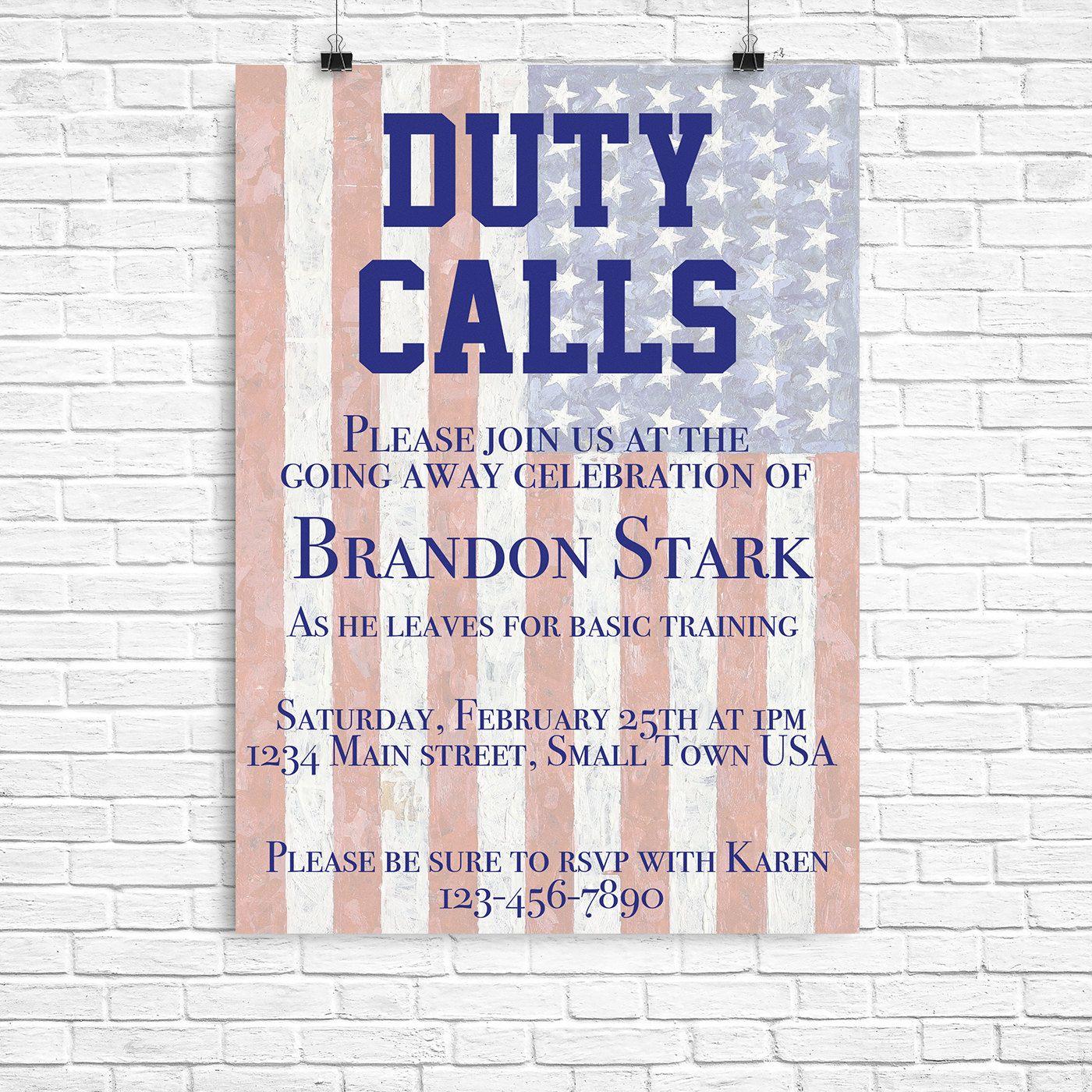 Duty calls invite Deployment party invitation – Military Party Invitations