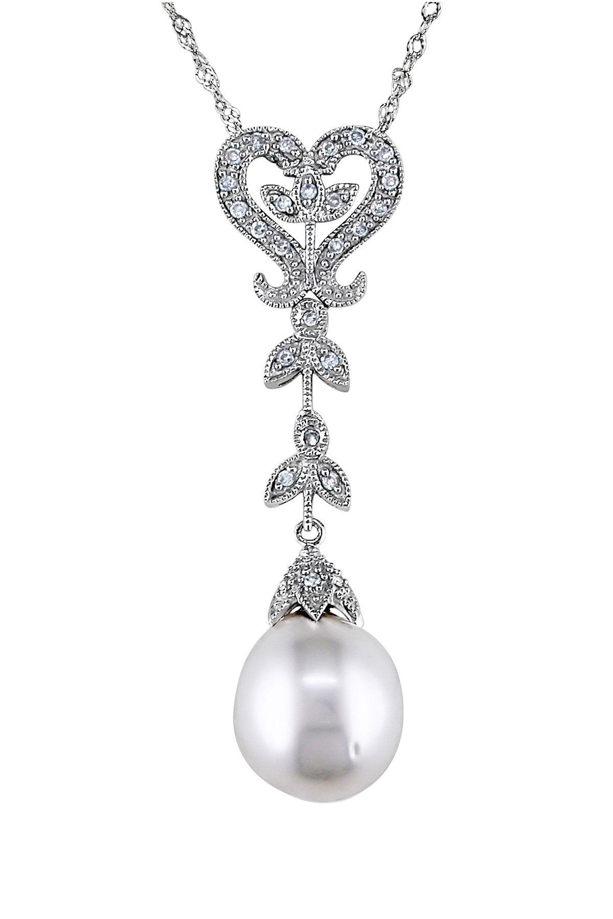 White Pearl & Diamond Pendant Drop Necklace