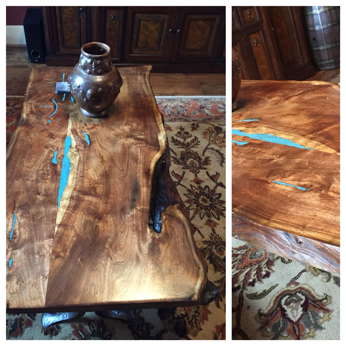 Black Walnut Wood Coffee Table With Turquoise Inlay Absolutely