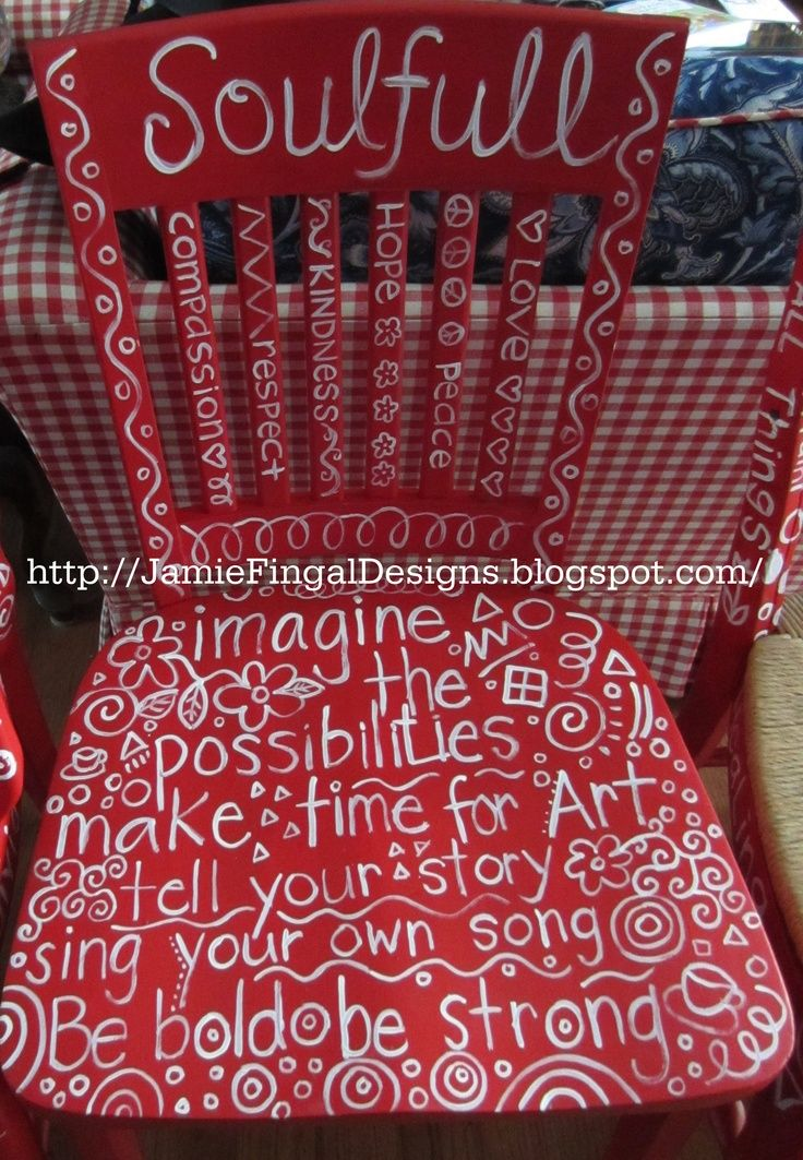 I have three chairs I could do this on...what a fun project with tons of positive affirmations....Hand painted chair of positive affirmations by Jamie Fingal