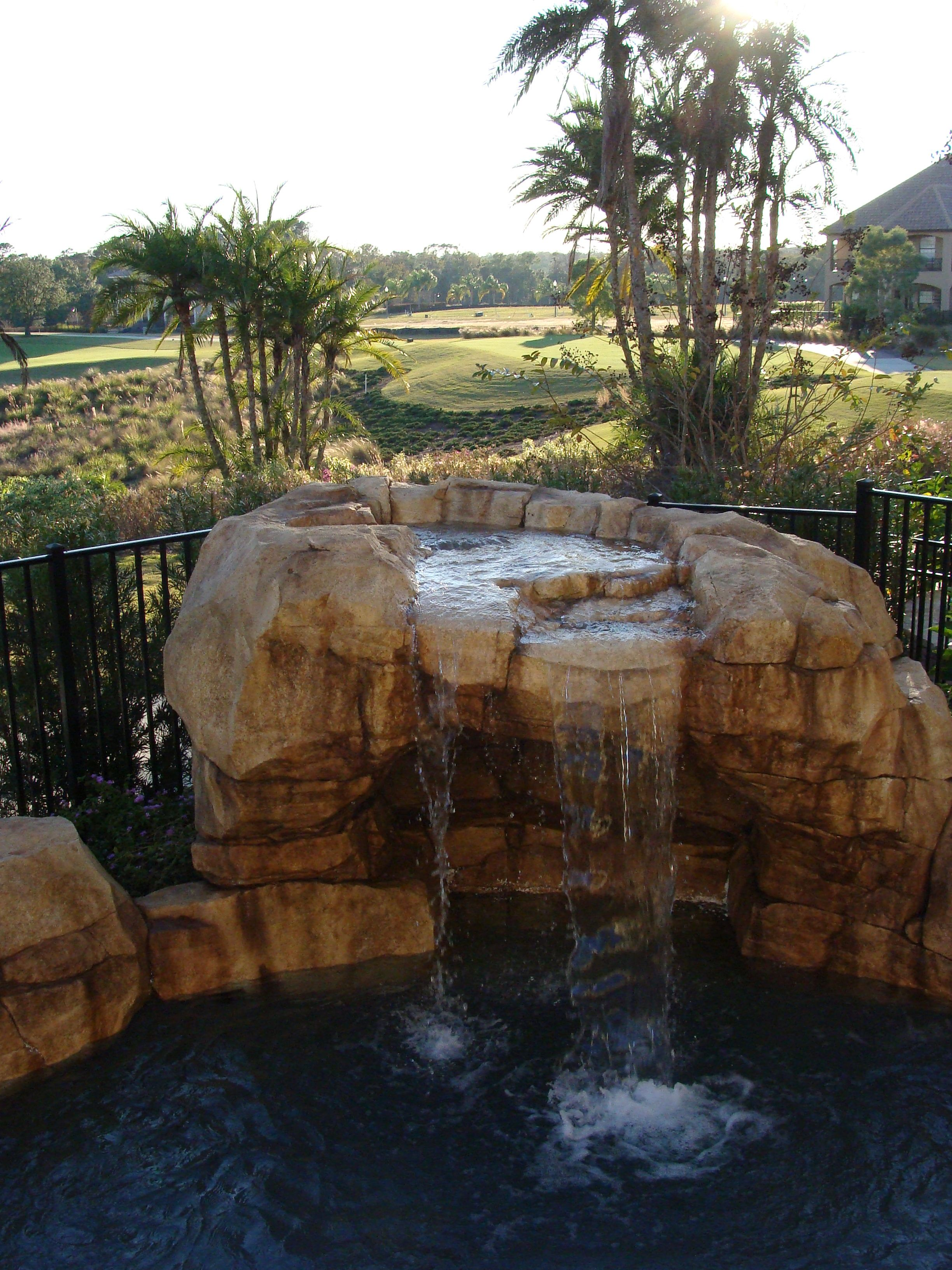 Concrete Waterfalls Outdoor Water Fountains Artificial Rock