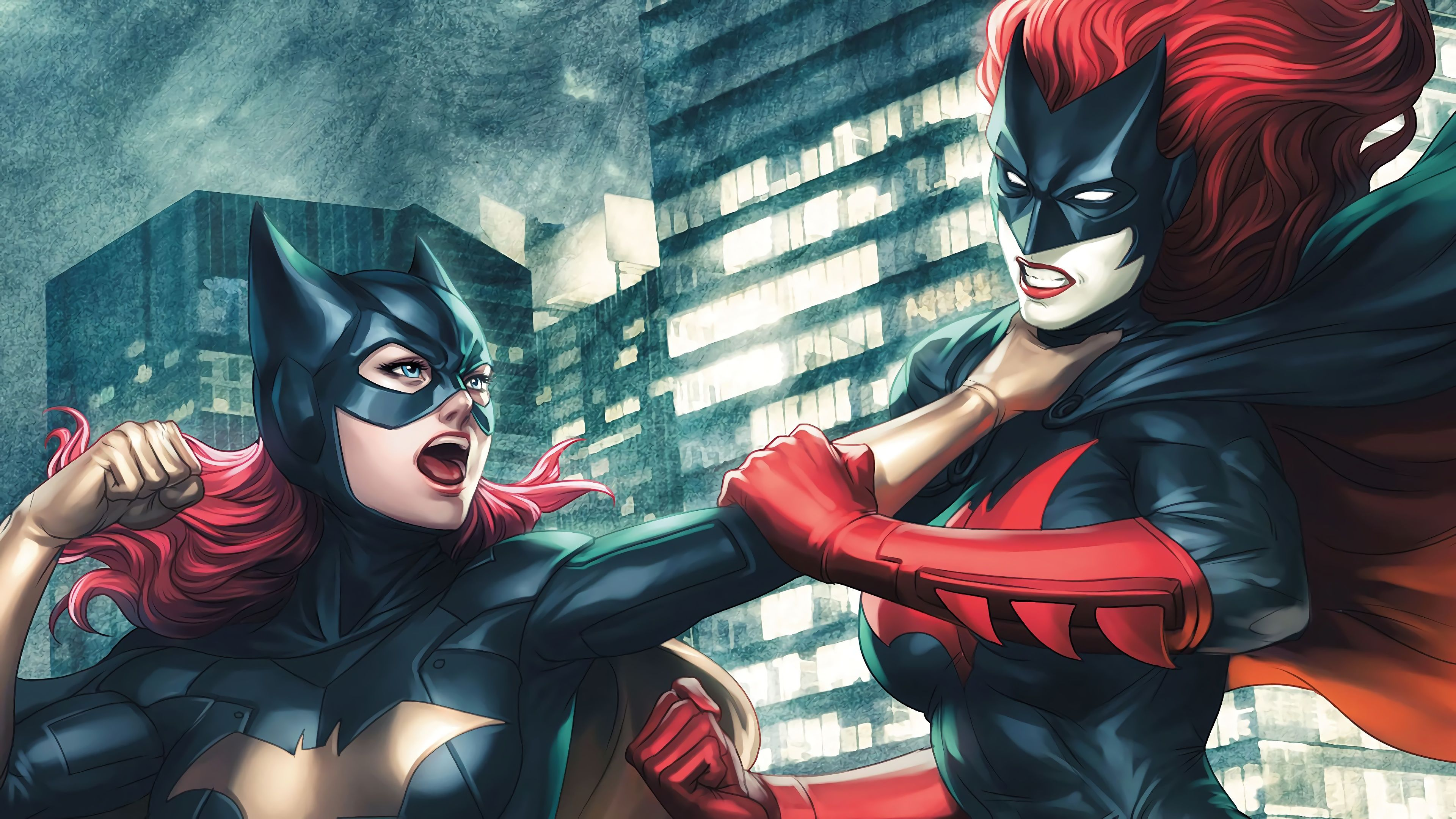 Batgirl Vs Batwoman Fight 4k Superheroes Wallpapers Hd Wallpapers Digital Art Wallpapers Batwoman Wallpapers Batgirl Wa Superhero Artwork Batgirl Superhero