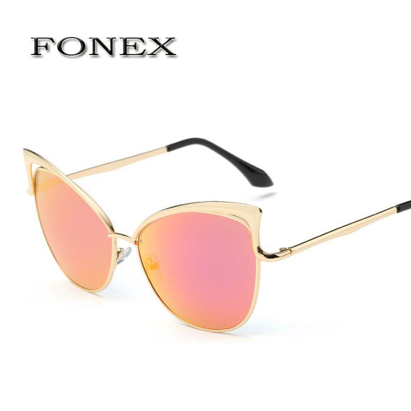 eaad7623997f4 2017 Fashion Sexy Lady Cat Eye Sunglasses Women Metal Big Frame Brand  Designer Mirror Cateye Sun