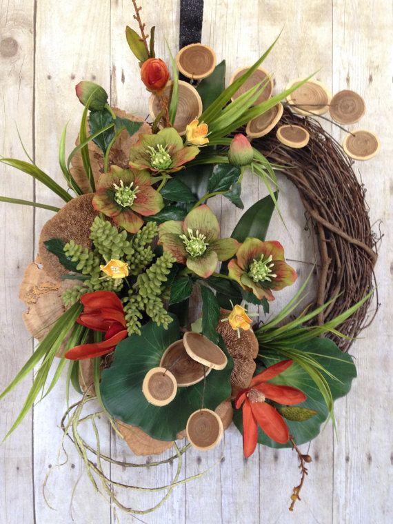 Contemporary Wreath Tropical Wreath Spring Wreath By Spratsdesign