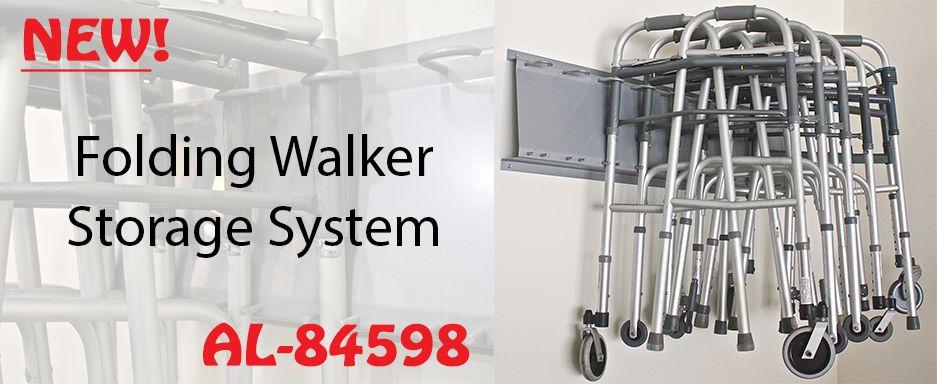 Folding walker storage system storage system storage