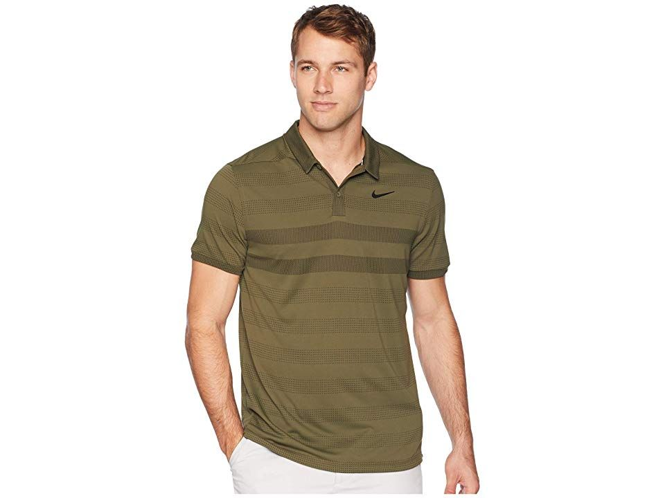 efd1541c Nike Golf Zonal Cooling Stripe Polo (Olive Canvas/Black) Men's Clothing. Get