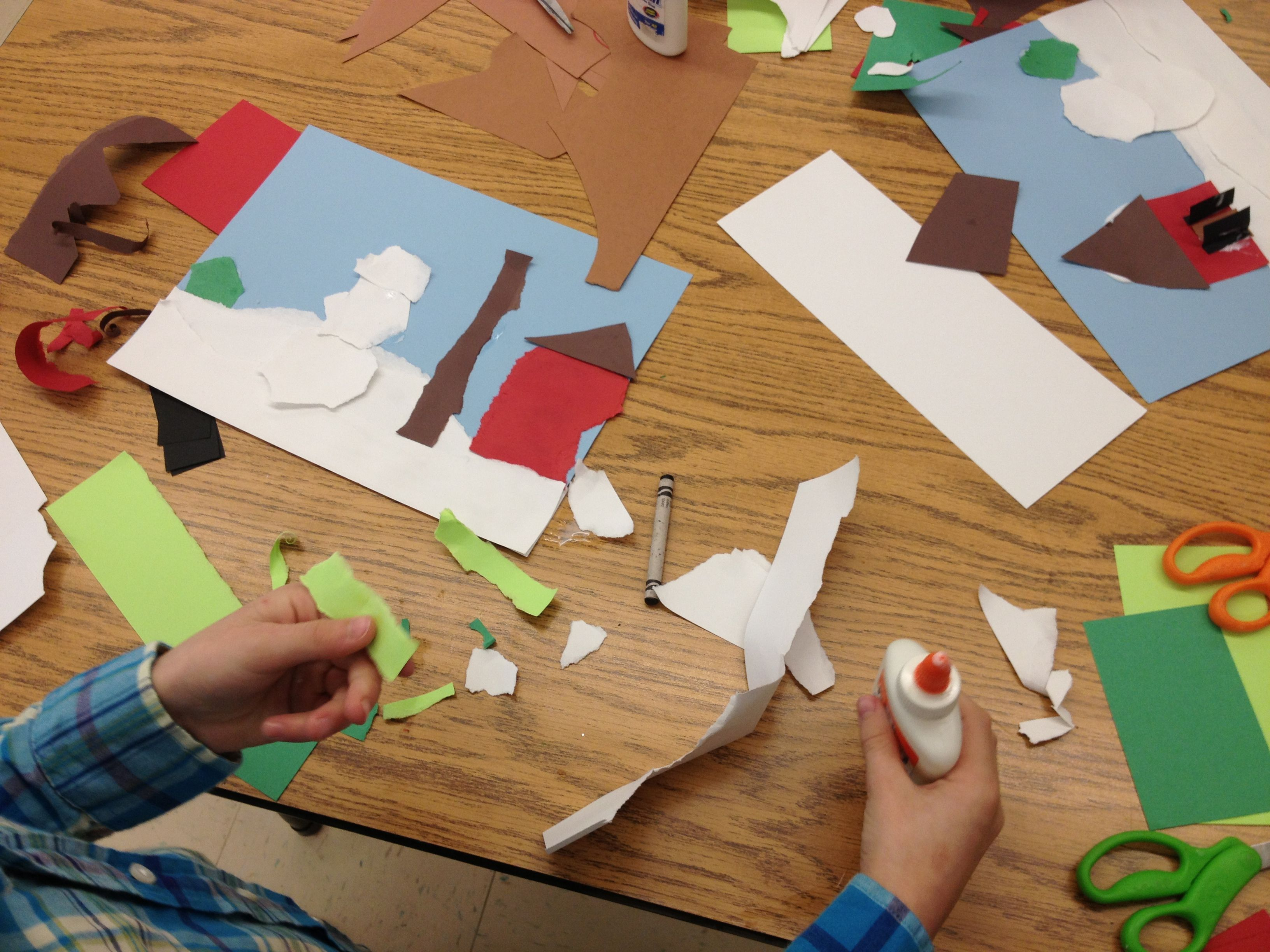 Collage Bambini ~ Grade torn paper collage of winter scenes art our art room