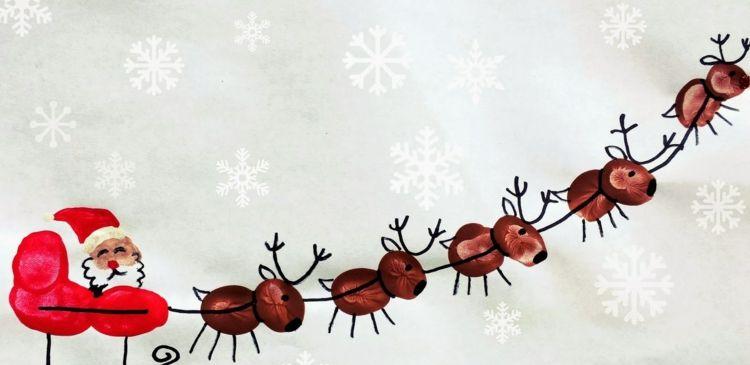 Fingerabdruck Bilder Weihnachten Weihnachtsmann Schlitten Rentiere