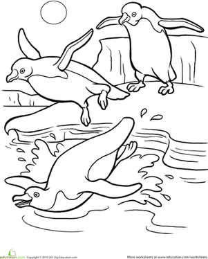 penguin coloring page penguins worksheets and kindergarten - Coloring Page For Kindergarten