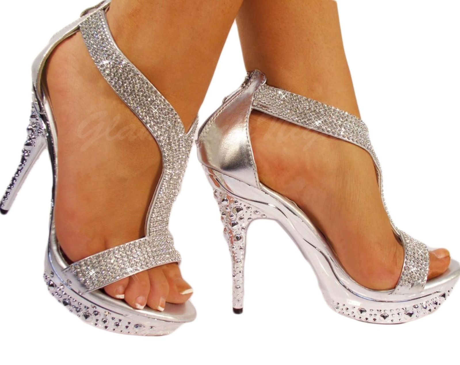 Details about SILVER DIAMANTE ENCRUSTED SANDAL, HIGH HEEL ...