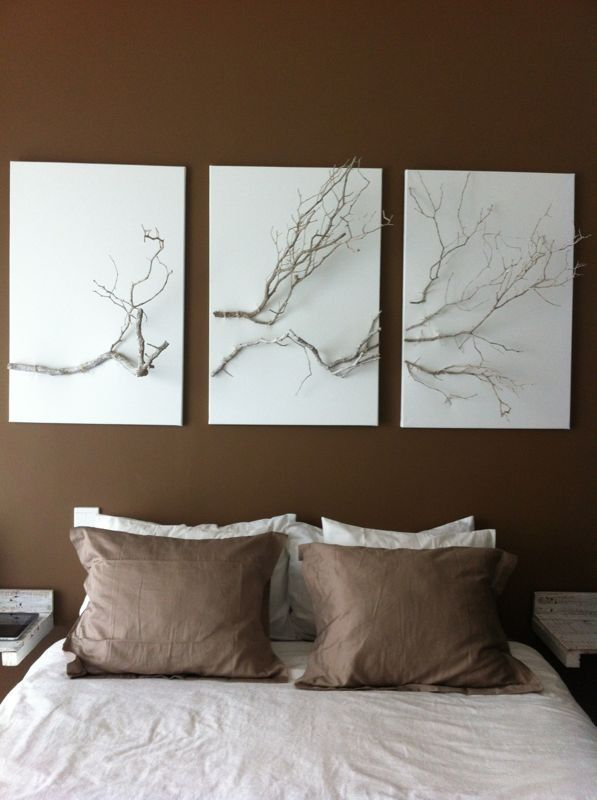 Painted Tree Branches D 233 Cor Rustic Taupe White Vintage