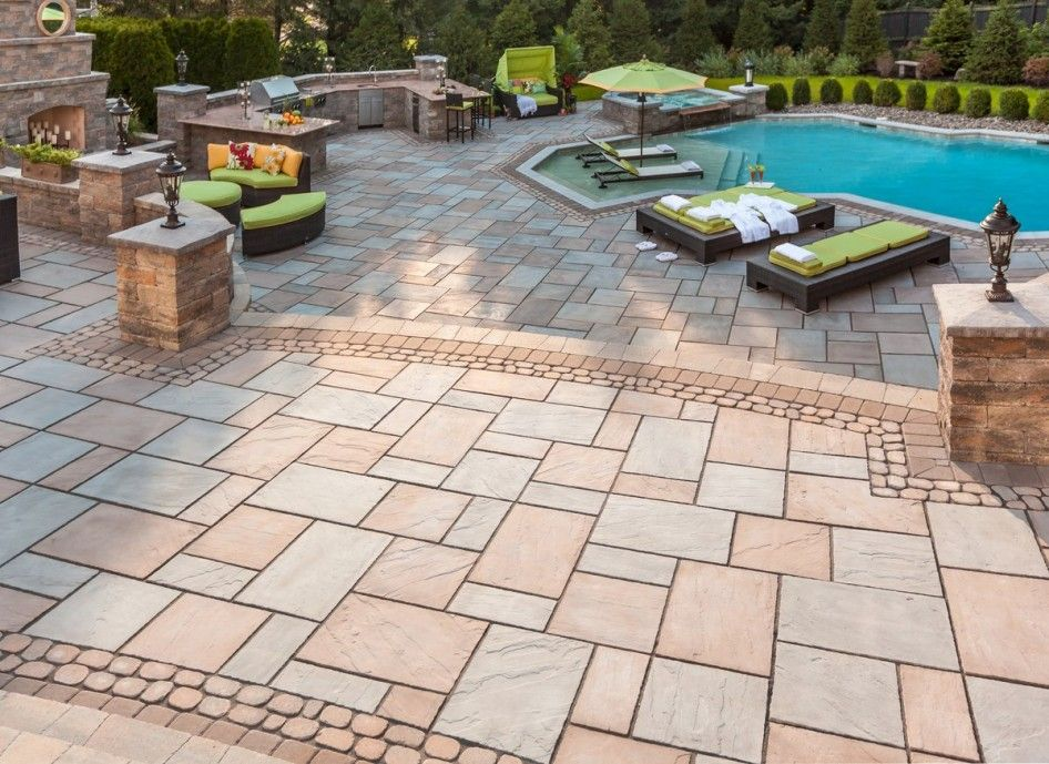 Gripping Large Paver Stone Patio With Resin Wicker Outdoor Furniture Set  And Metropolitan Poolside Chaise Lounge