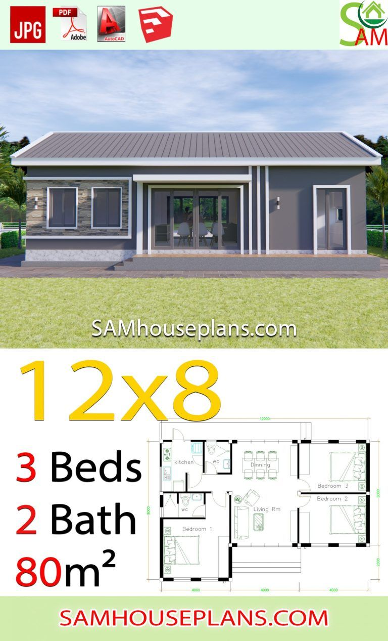House Plans 12x8 With 3 Bedrooms Gable Roof Sam House Plans In 2020 Beautiful House Plans Country Cottage House Plans Architectural House Plans