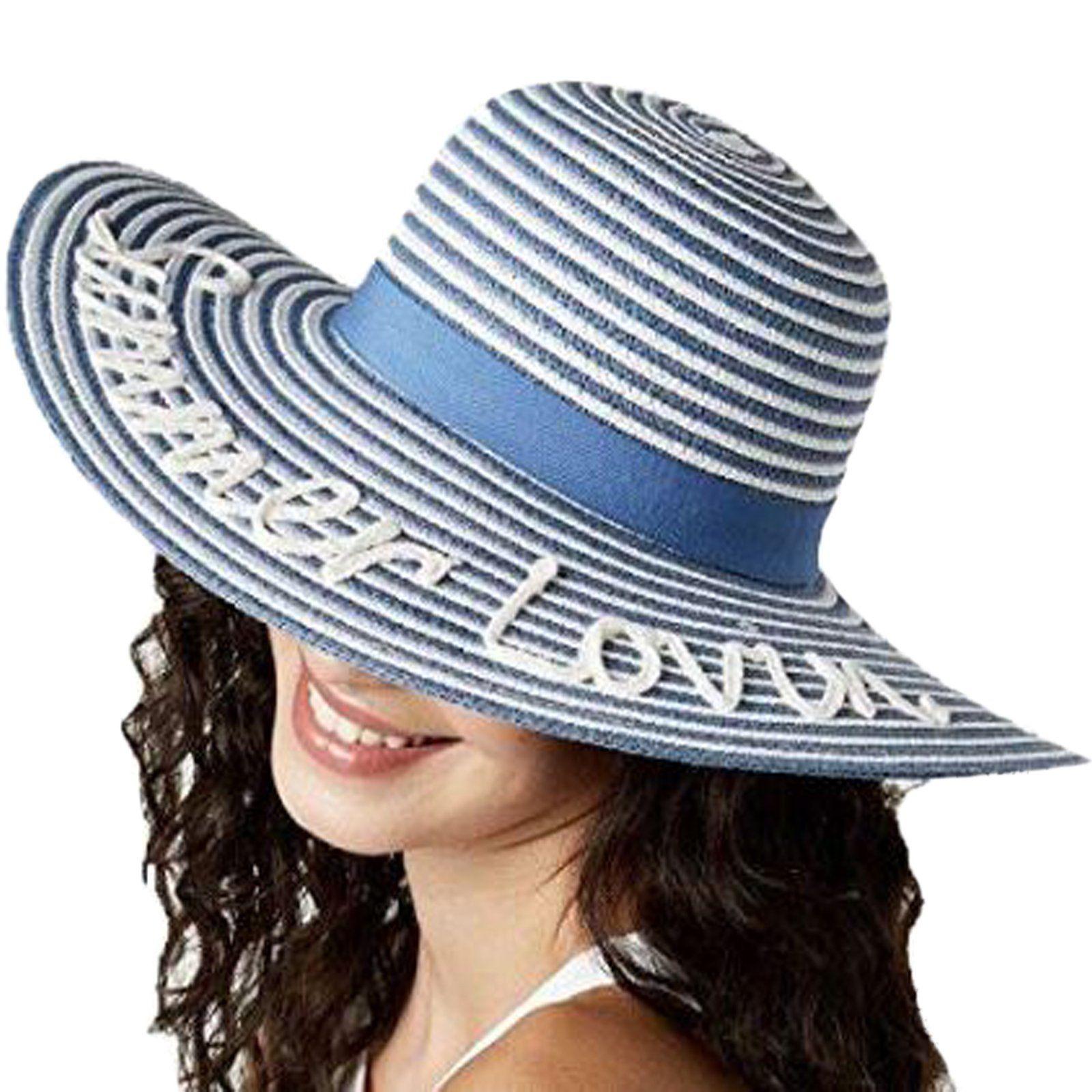 c2fdfdeee5de91 August Hat Co. Womens Summer Lovin' Floppy Hat (Blue/White, One Size ...