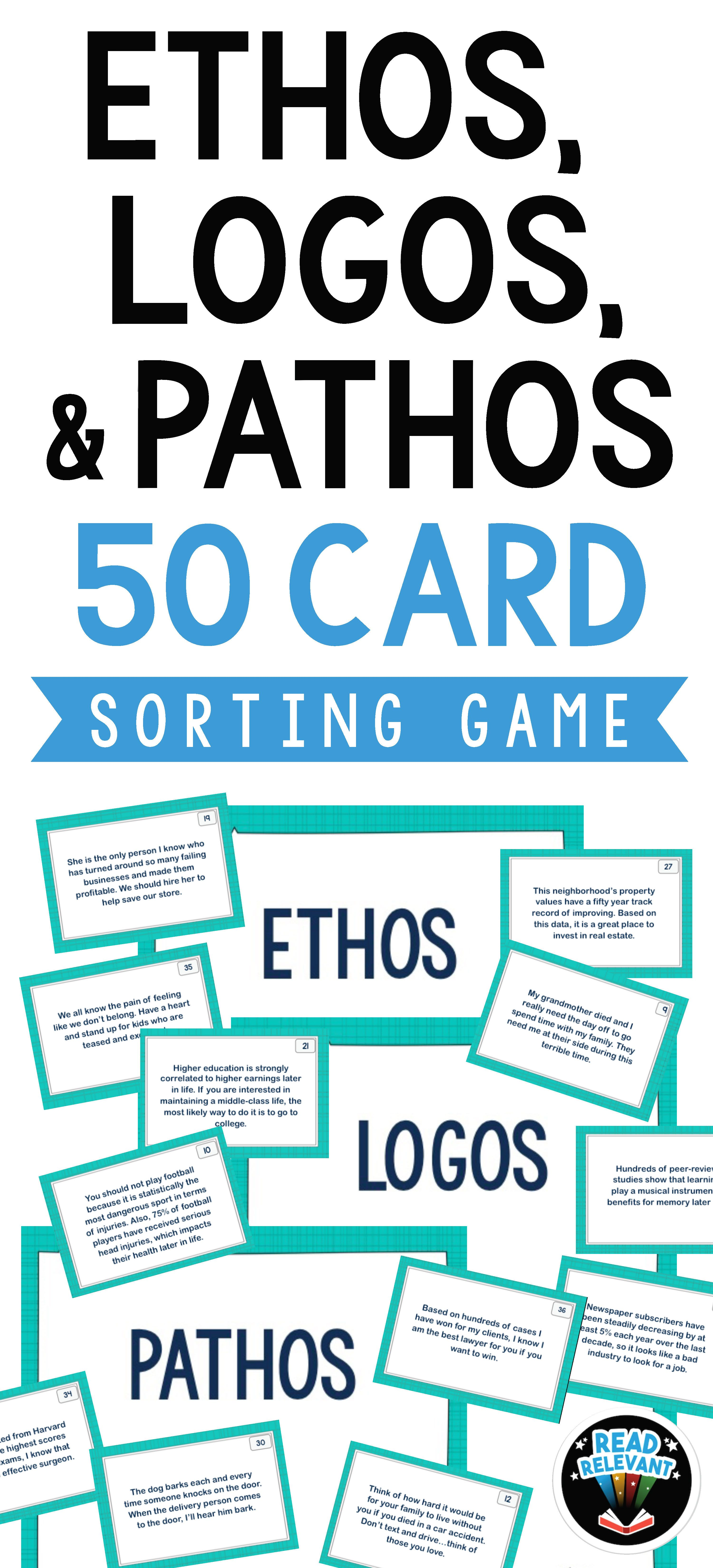 Ethos Pathos And Logos Sort 50 Card Sorting Activity