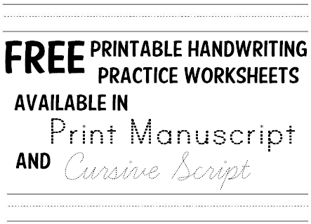 free handwriting practice printable worksheets for kids print and cursive k 12 education. Black Bedroom Furniture Sets. Home Design Ideas