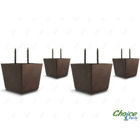 Choice Parts 2 Inch Tall Triangle Walnut Brown Plastic Sofa Legs