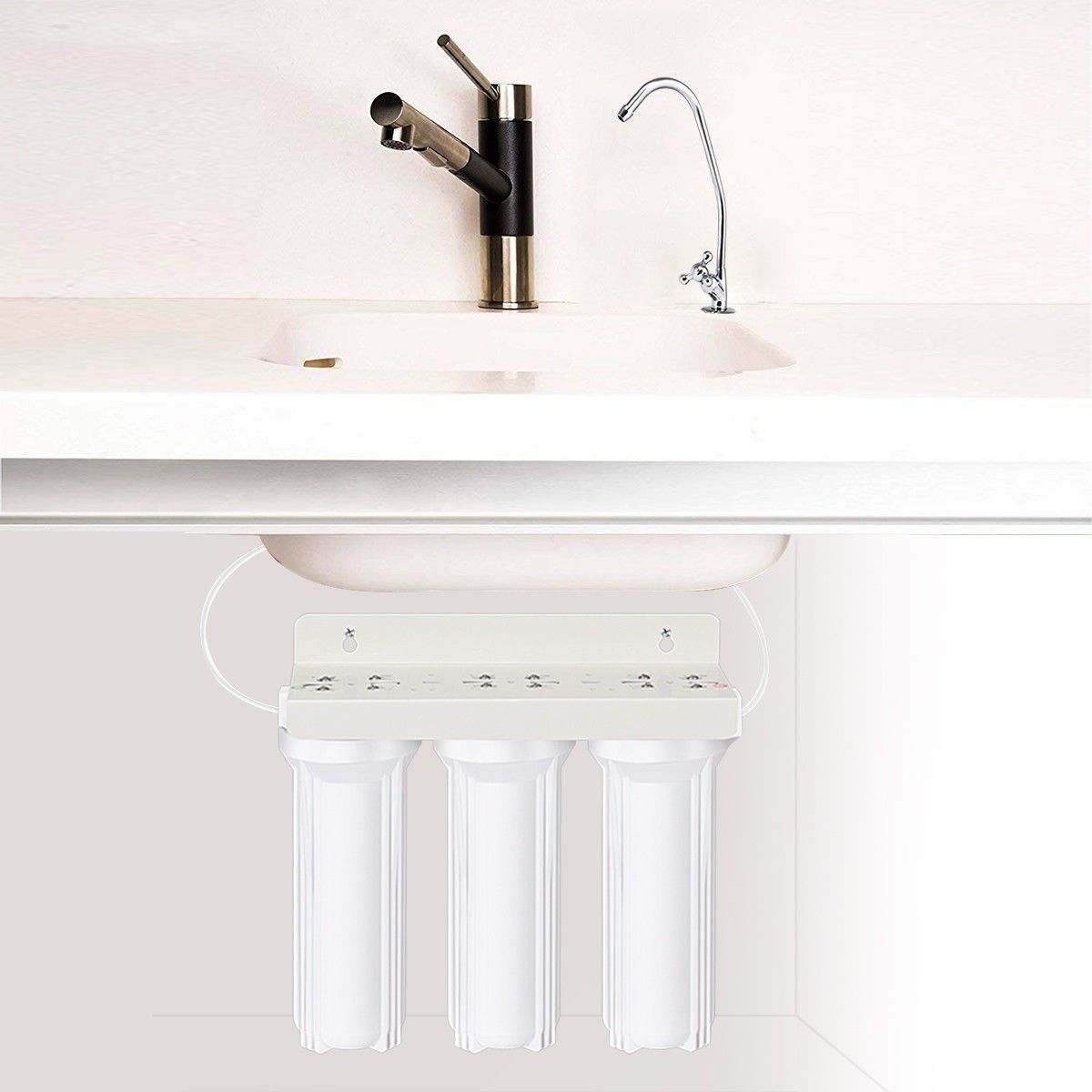 3 Stage Under Sink Water Filter System With Chromed Faucet Under