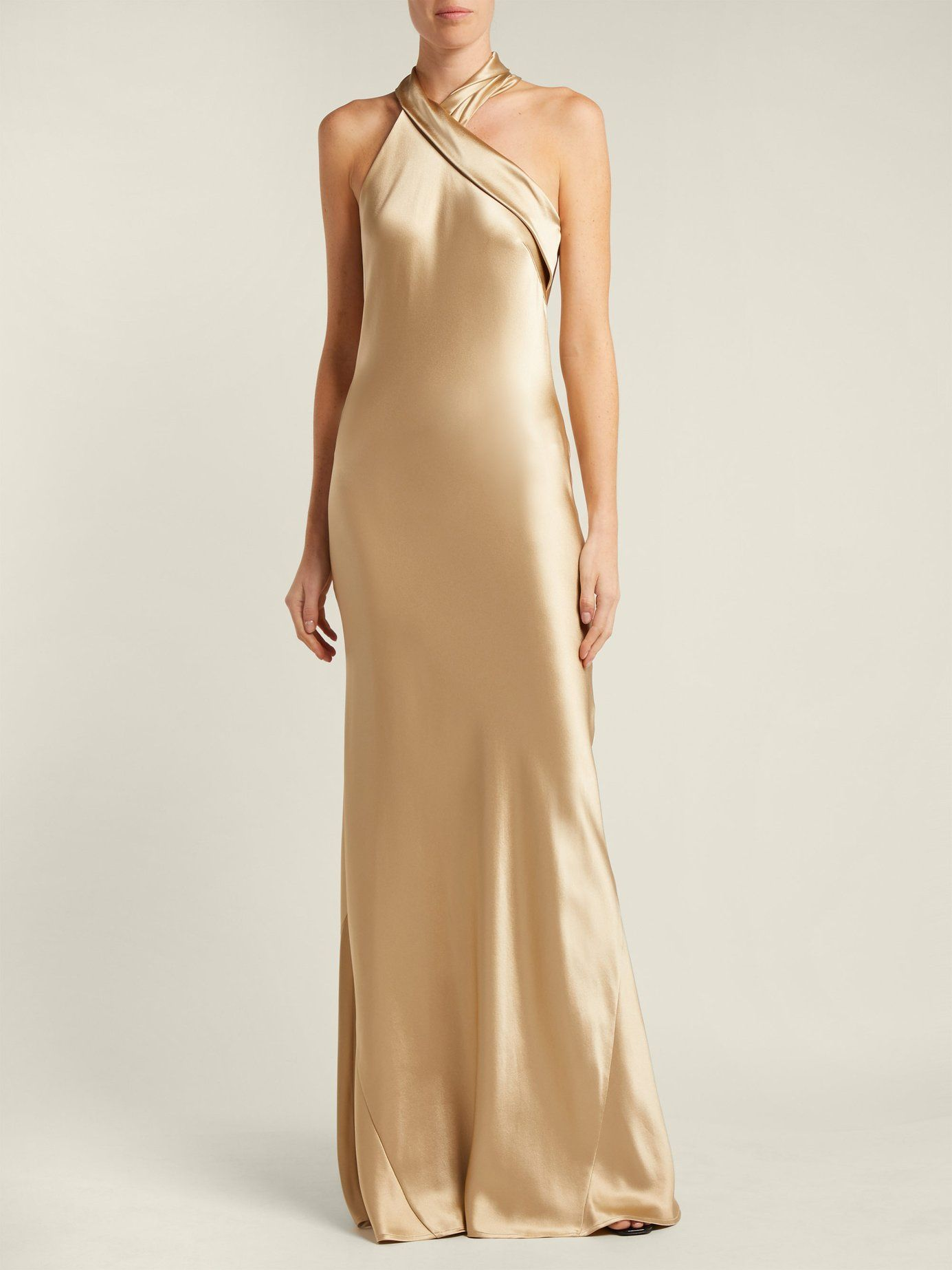 1a333377 Pandora silk-satin halterneck gown | Galvan | MATCHESFASHION.COM ...