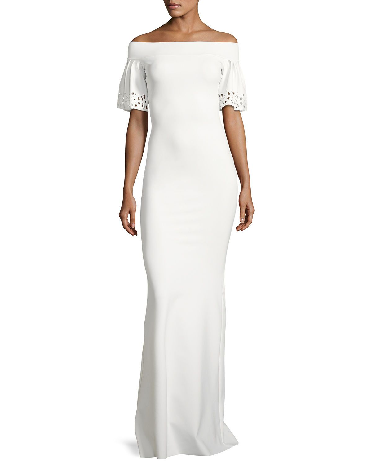 Amice shortsleeve jersey offtheshoulder gown the oujays