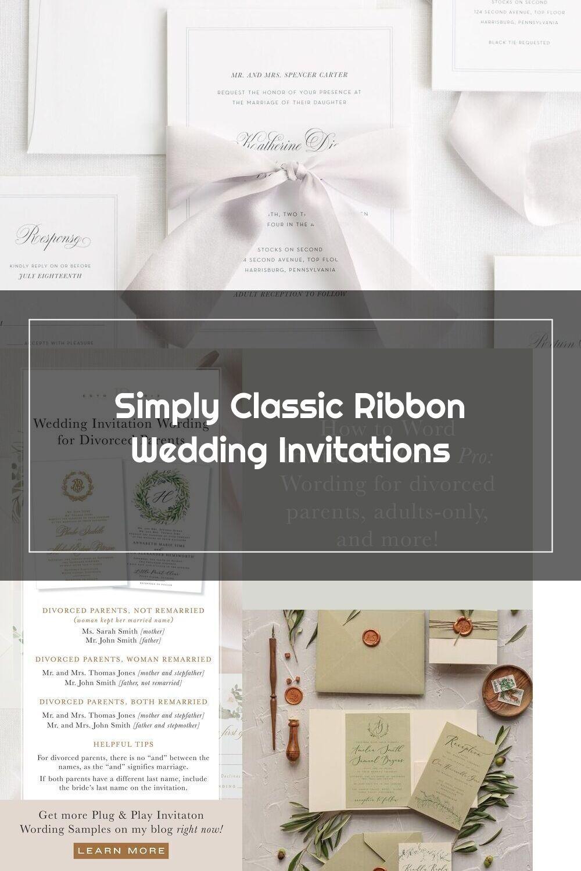 Complete Wedding Invitation Suite With Platinum Ribbon And Enclosures In 2020 Wedding Invitation Ribbon Wedding Invitations Wedding Invitation Suite