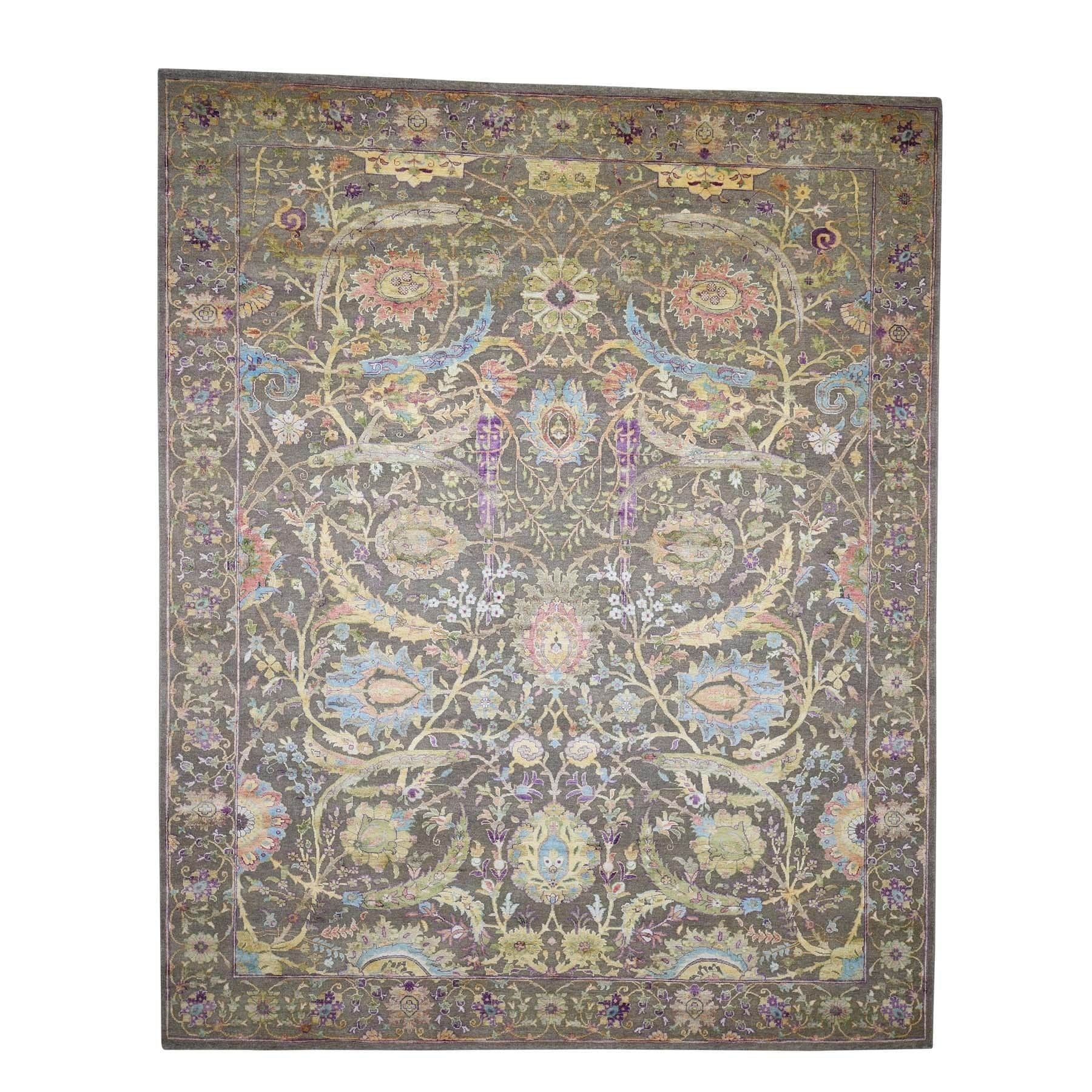 Shahbanu Rugs Hand Knotted Sickle Leaf Design Pure Silk With