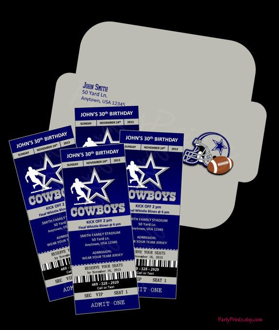 Printable Dallas Cowboys Ticket Invitations Envelope By