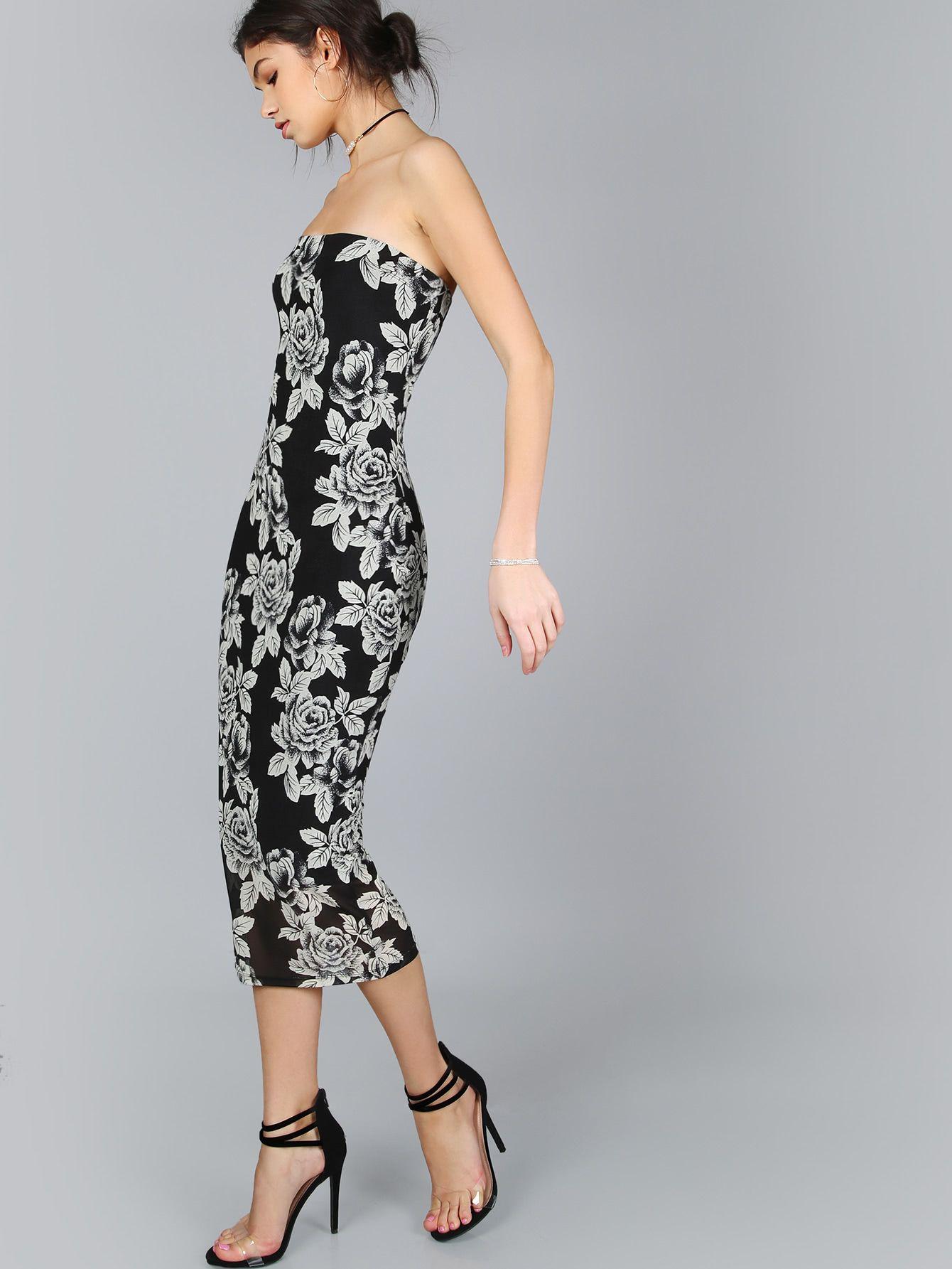 bd191ef15b Shop Floral Print Bandeau Dress online. SheIn offers Floral Print Bandeau  Dress & more to fit your fashionable needs.